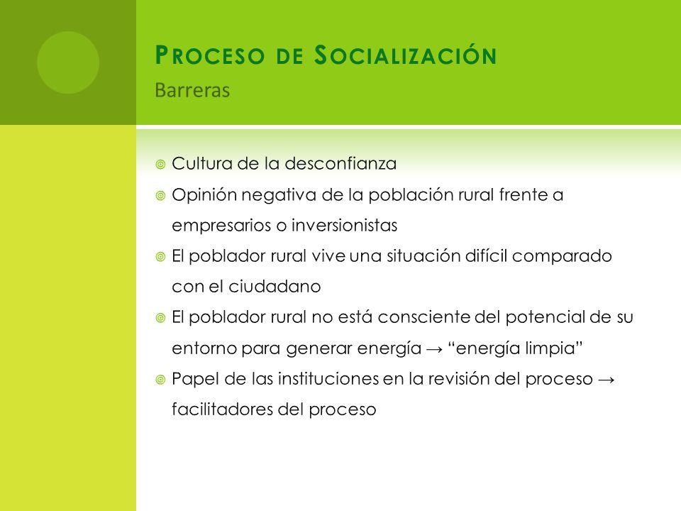 P ROCESO DE S OCIALIZACIÓN Barreras