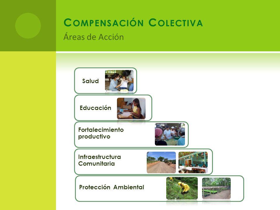 Fortalecimiento productivo Salud Educación Infraestructura Comunitaria Protección Ambiental C OMPENSACIÓN C OLECTIVA Áreas de Acción