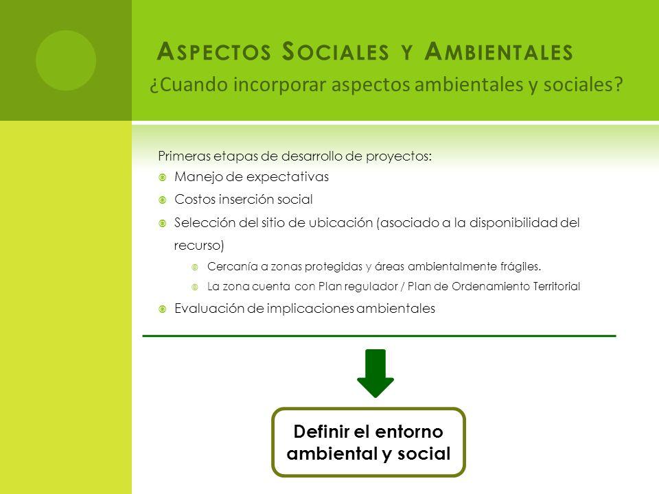¿Cuando incorporar aspectos ambientales y sociales.
