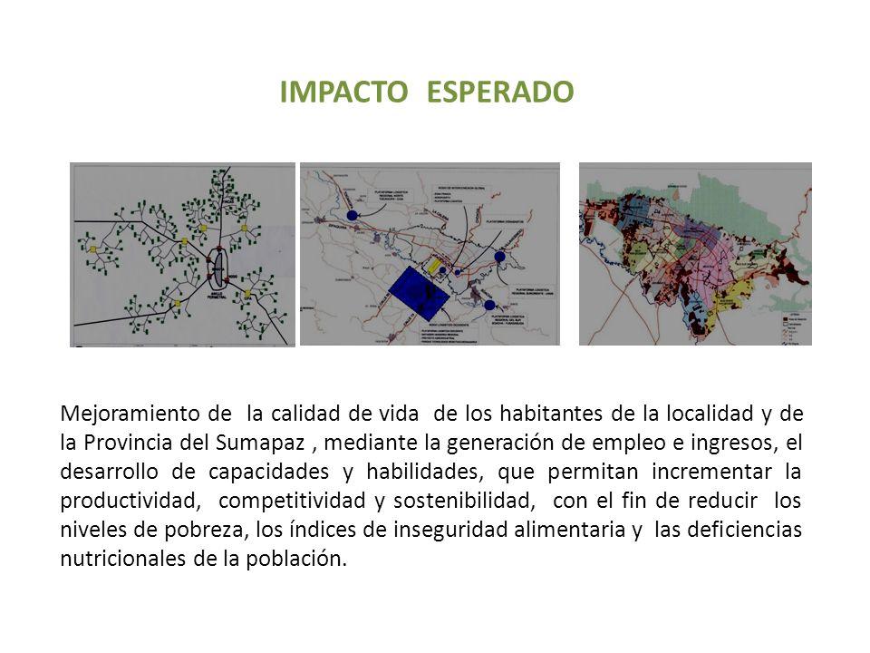 IMPACTO ESPERADO Mejoramiento de la calidad de vida de los habitantes de la localidad y de la Provincia del Sumapaz, mediante la generación de empleo