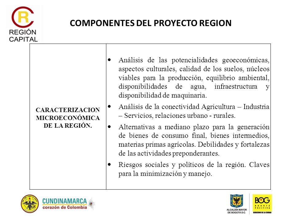 COMPONENTES DEL PROYECTO REGION CARACTERIZACION MICROECONÓMICA DE LA REGIÓN. Análisis de las potencialidades geoeconómicas, aspectos culturales, calid