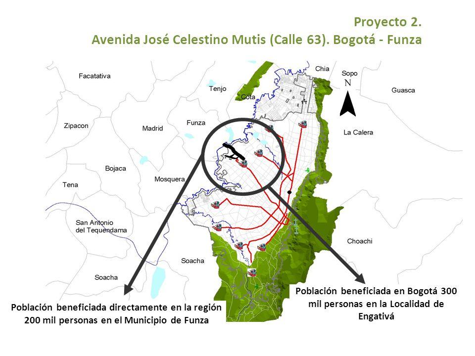 Proyecto 2. Avenida José Celestino Mutis (Calle 63). Bogotá - Funza Población beneficiada directamente en la región 200 mil personas en el Municipio d