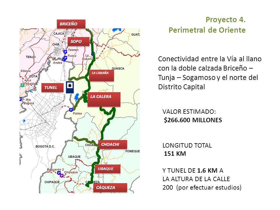 LA CALERA CÁQUEZA SOPO UBAQUE LA CABAÑA CHOACHI BRICEÑO TUNEL VALOR ESTIMADO: $266.600 MILLONES LONGITUD TOTAL 151 KM Y TUNEL DE 1.6 KM A LA ALTURA DE