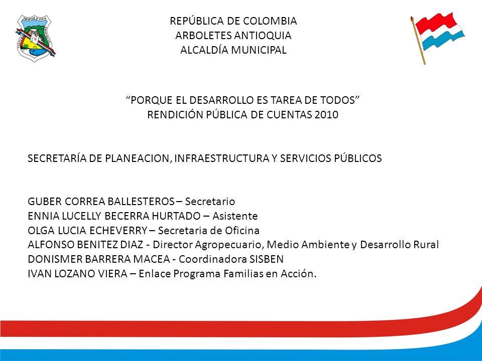REPÚBLICA DE COLOMBIA ARBOLETES ANTIOQUIA ALCALDÍA MUNICIPAL PORQUE EL DESARROLLO ES TAREA DE TODOS RENDICIÓN PÚBLICA DE CUENTAS 2010 SECRETARÍA DE PLANEACION, INFRAESTRUCTURA Y SERVICIOS PÚBLICOS GUBER CORREA BALLESTEROS – Secretario ENNIA LUCELLY BECERRA HURTADO – Asistente OLGA LUCIA ECHEVERRY – Secretaria de Oficina ALFONSO BENITEZ DIAZ - Director Agropecuario, Medio Ambiente y Desarrollo Rural DONISMER BARRERA MACEA - Coordinadora SISBEN IVAN LOZANO VIERA – Enlace Programa Familias en Acción.