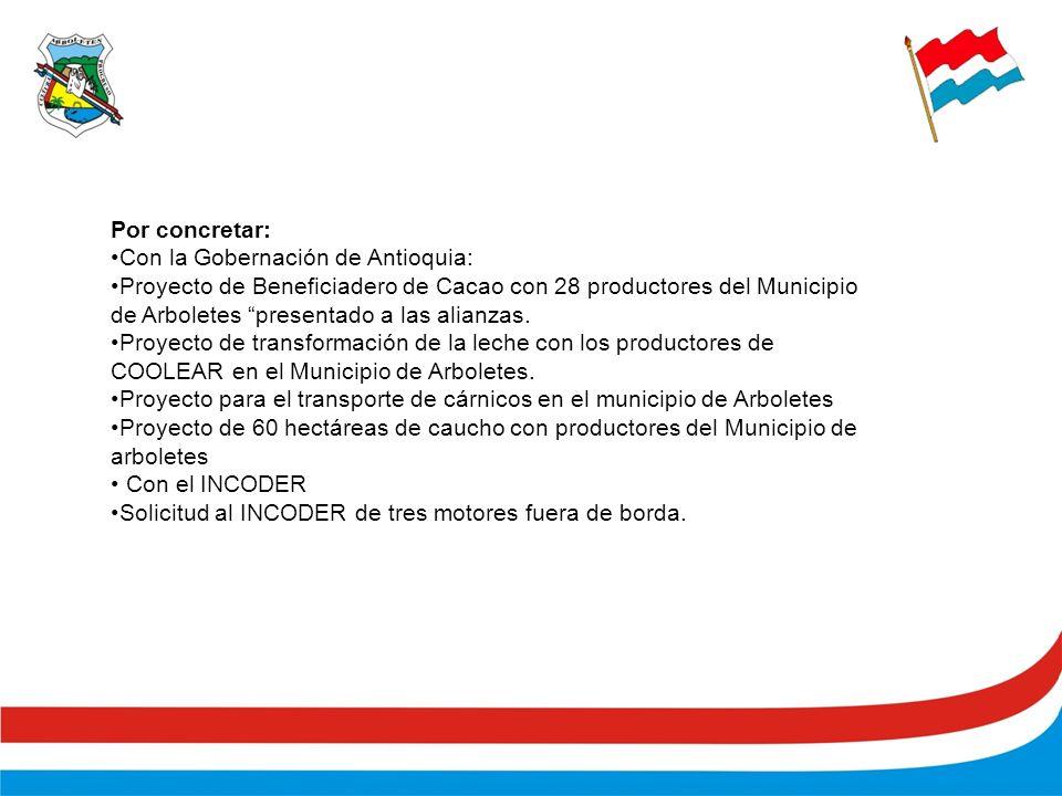 Por concretar: Con la Gobernación de Antioquia: Proyecto de Beneficiadero de Cacao con 28 productores del Municipio de Arboletes presentado a las alianzas.