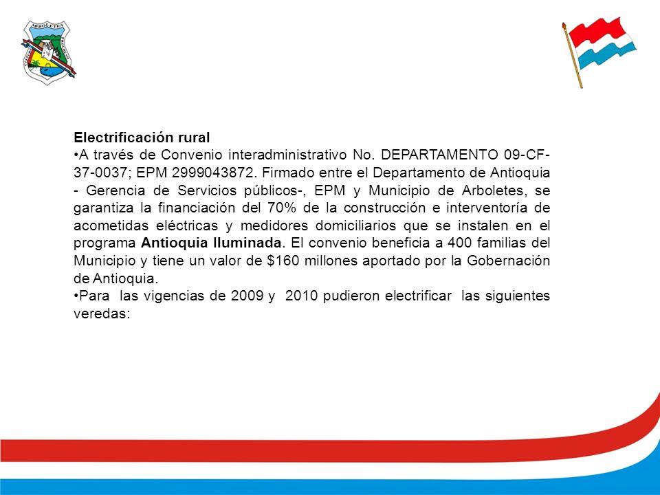 Electrificación rural A través de Convenio interadministrativo No.