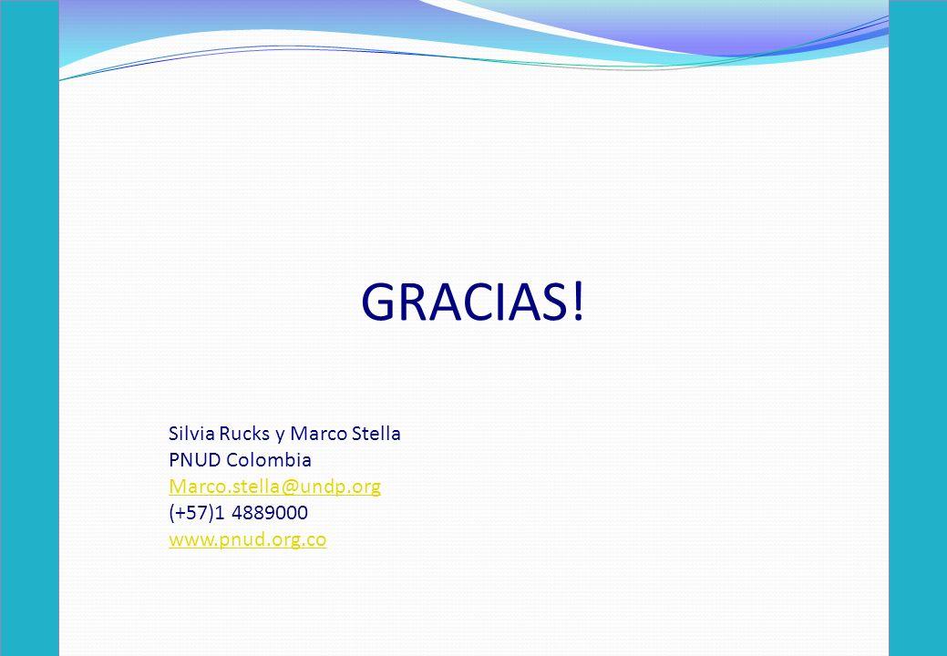GRACIAS! Silvia Rucks y Marco Stella PNUD Colombia Marco.stella@undp.org (+57)1 4889000 www.pnud.org.co