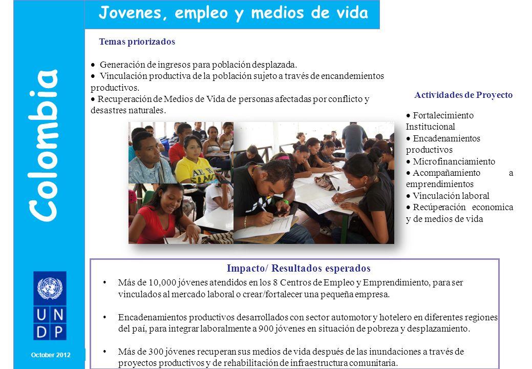MONTH/ YEAR ENFOQUE E INNOVACIÓN Octubre2012 Colombia Jovenes, empleo y medios de vida Se han creado y fortalecido los Centros de Empleo y Emprendimiento, que ofrecen las siguientes rutas de atención: Empleo: formación psico-social y técnica, servicios de intermediación laboral, asesoramiento y acompañamiento.