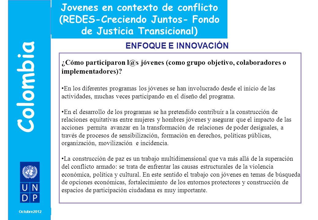 MONTH/ YEAR ENFOQUE E INNOVACIÓN Octubre 2012 Colombia Título ¿En qué medida el proyecto favorece el empoderamiento y/o participación de l@s jóvenes.