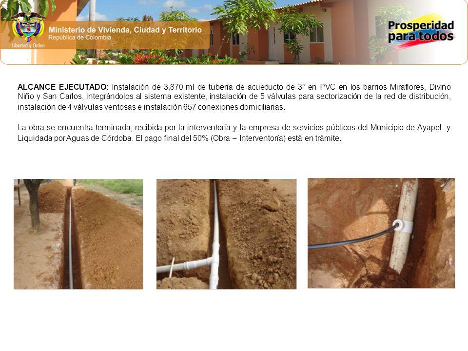 ALCANCE EJECUTADO: Instalación de 3,870 ml de tubería de acueducto de 3 en PVC en los barrios Miraflores, Divino Niño y San Carlos, integrándolos al s