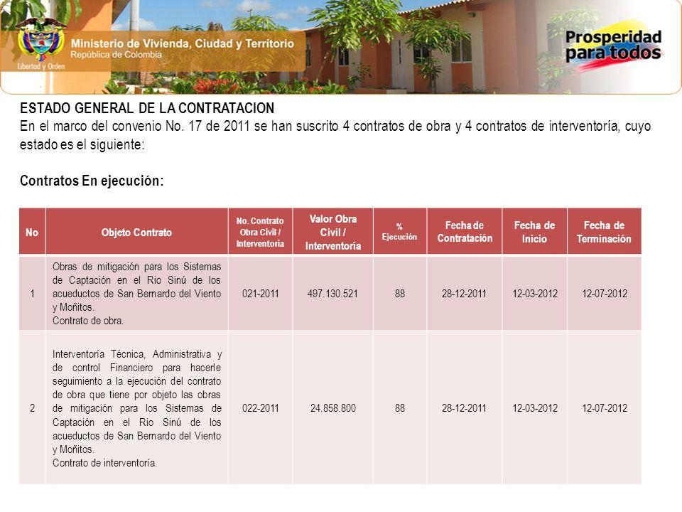 ESTADO GENERAL DE LA CONTRATACION En el marco del convenio No. 17 de 2011 se han suscrito 4 contratos de obra y 4 contratos de interventoría, cuyo est