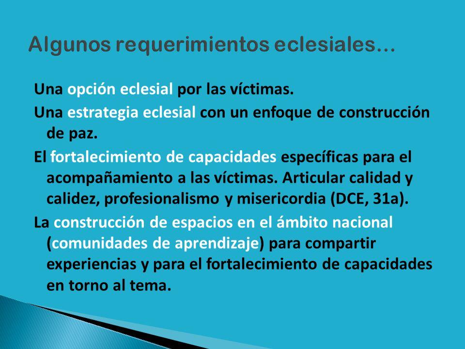 Una opción eclesial por las víctimas. Una estrategia eclesial con un enfoque de construcción de paz. El fortalecimiento de capacidades específicas par