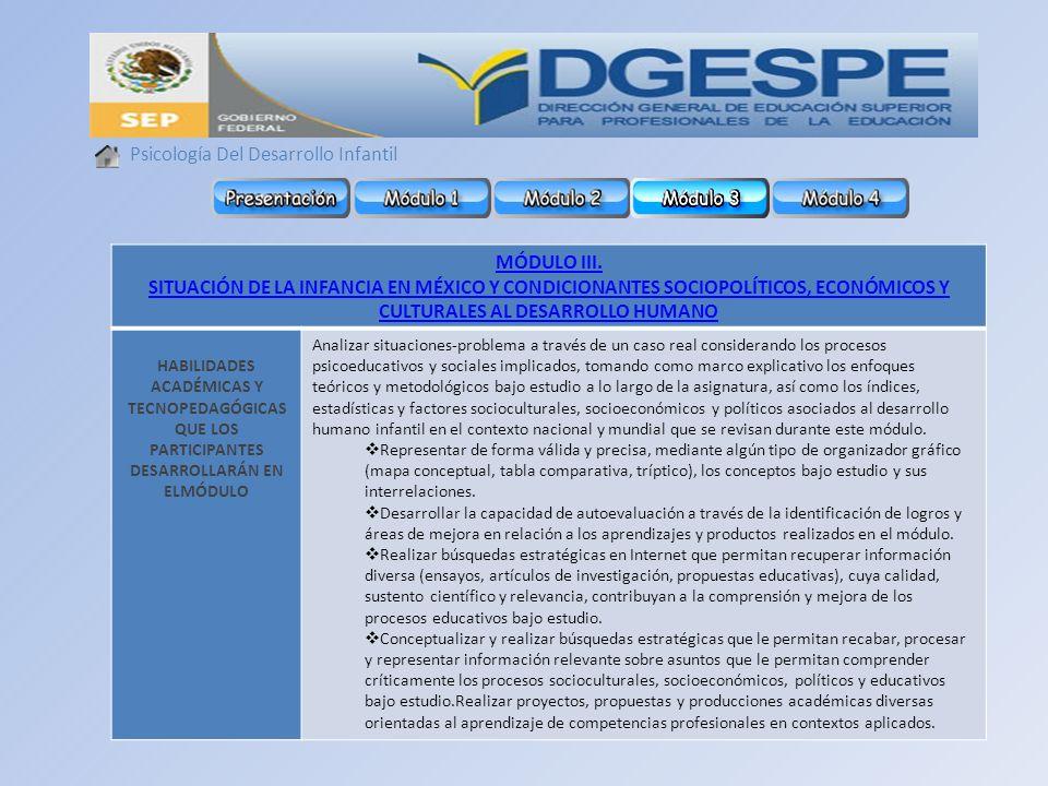 Psicología Del Desarrollo Infantil MÓDULO III. SITUACIÓN DE LA INFANCIA EN MÉXICO Y CONDICIONANTES SOCIOPOLÍTICOS, ECONÓMICOS Y CULTURALES AL DESARROL