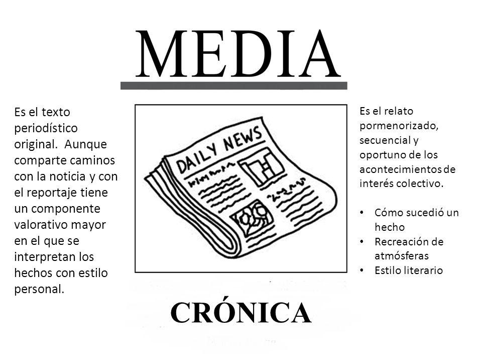 CRÓNICA Características: Cronología de elementos y momentos de la noticia.