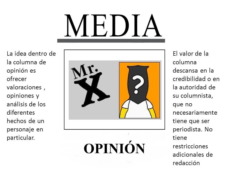 OPINIÓN La idea dentro de la columna de opinión es ofrecer valoraciones, opiniones y análisis de los diferentes hechos de un personaje en particular.