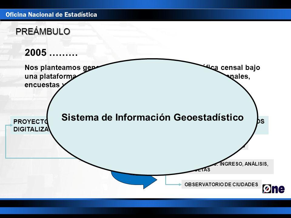 2005 ……… Nos planteamos generar una base de datos cartográfica censal bajo una plataforma de SIG, que permitiera vincular los datos cenales, encuestas