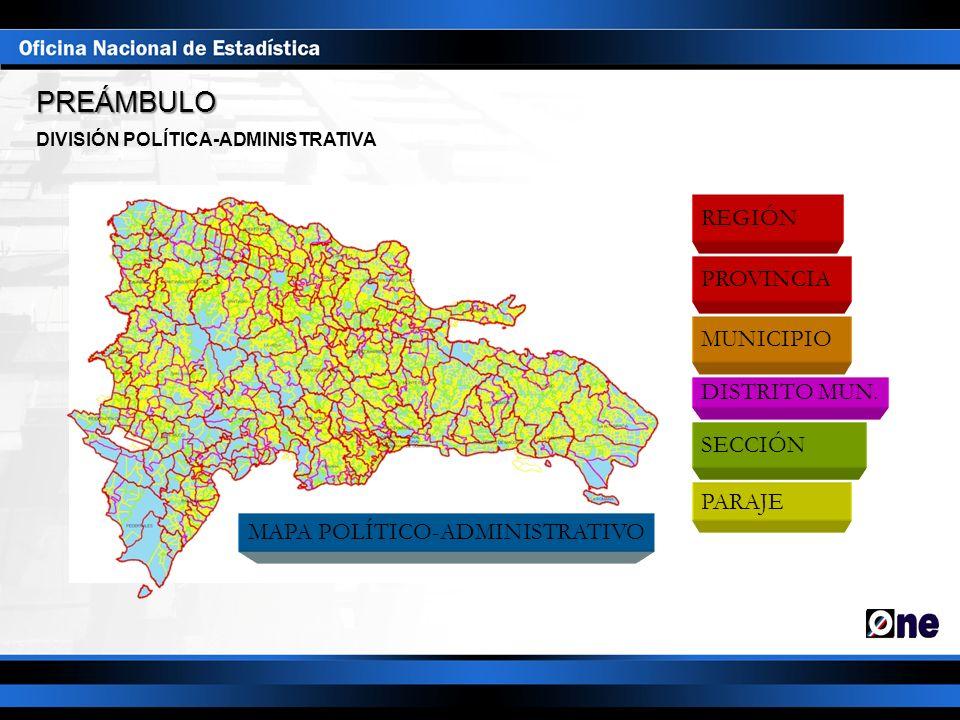 REGIÓN PROVINCIA MUNICIPIO DISTRITO MUN. SECCIÓN PARAJE DIVISIÓN POLÍTICA-ADMINISTRATIVA MAPA POLÍTICO-ADMINISTRATIVO PREÁMBULO