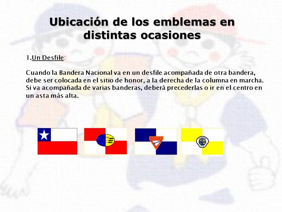 Ubicación de los emblemas en distintas ocasiones 1.Un Desfile: Cuando la Bandera Nacional va en un desfile acompañada de otra bandera, debe ser coloca