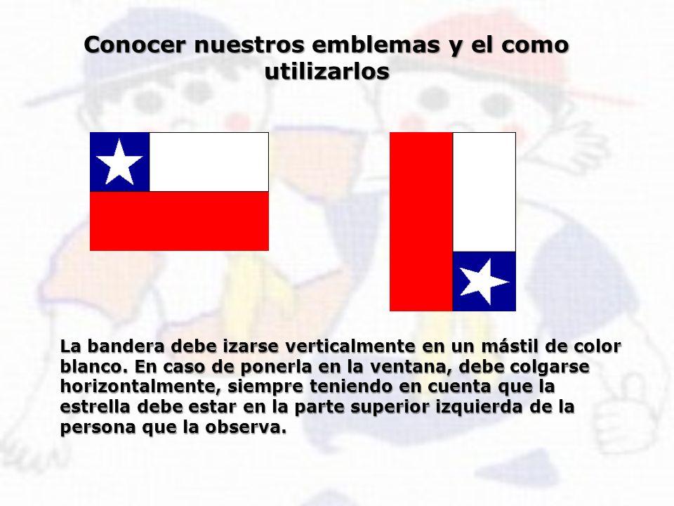 Conocer nuestros emblemas y el como utilizarlos La bandera debe izarse verticalmente en un mástil de color blanco. En caso de ponerla en la ventana, d