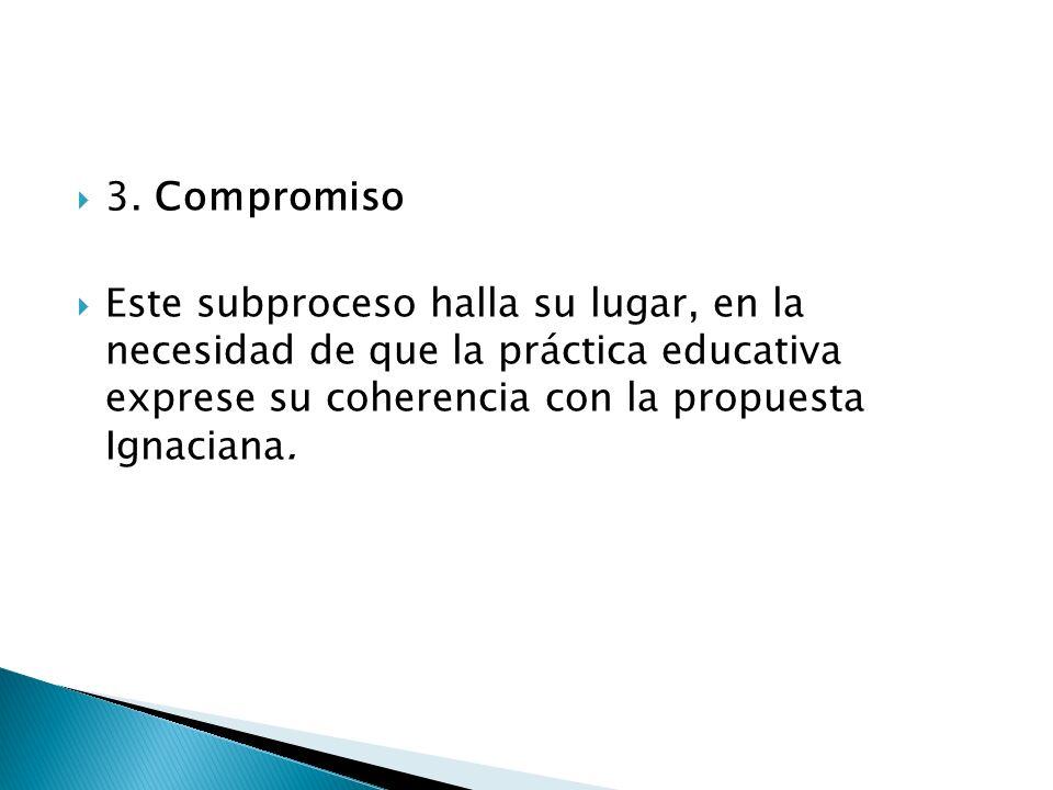 3. Compromiso Este subproceso halla su lugar, en la necesidad de que la práctica educativa exprese su coherencia con la propuesta Ignaciana.