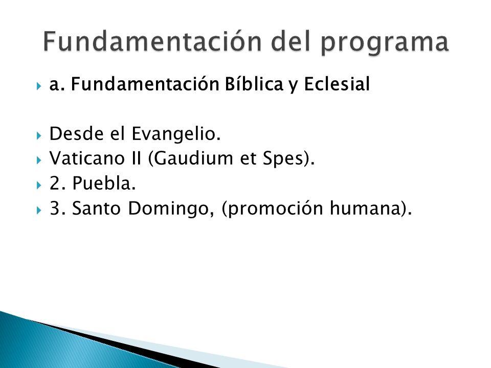 a. Fundamentación Bíblica y Eclesial Desde el Evangelio. Vaticano II (Gaudium et Spes). 2. Puebla. 3. Santo Domingo, (promoción humana).