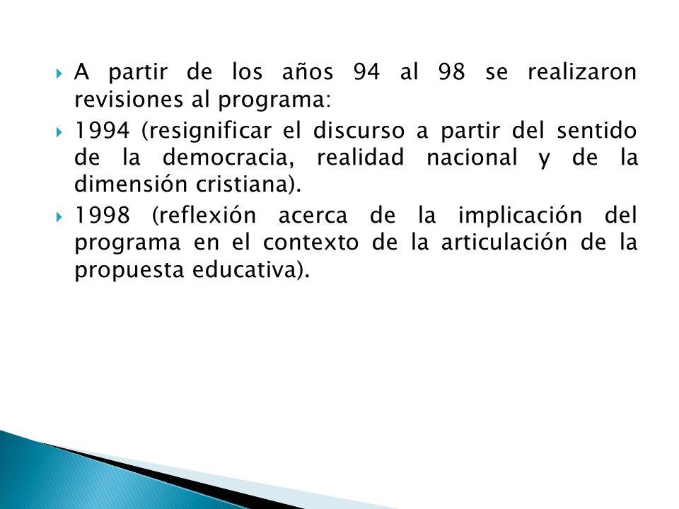 A partir de los años 94 al 98 se realizaron revisiones al programa: 1994 (resignificar el discurso a partir del sentido de la democracia, realidad nac