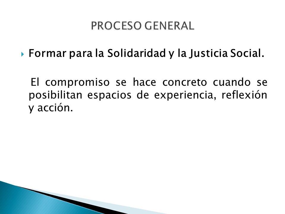 Formar para la Solidaridad y la Justicia Social. El compromiso se hace concreto cuando se posibilitan espacios de experiencia, reflexión y acción.