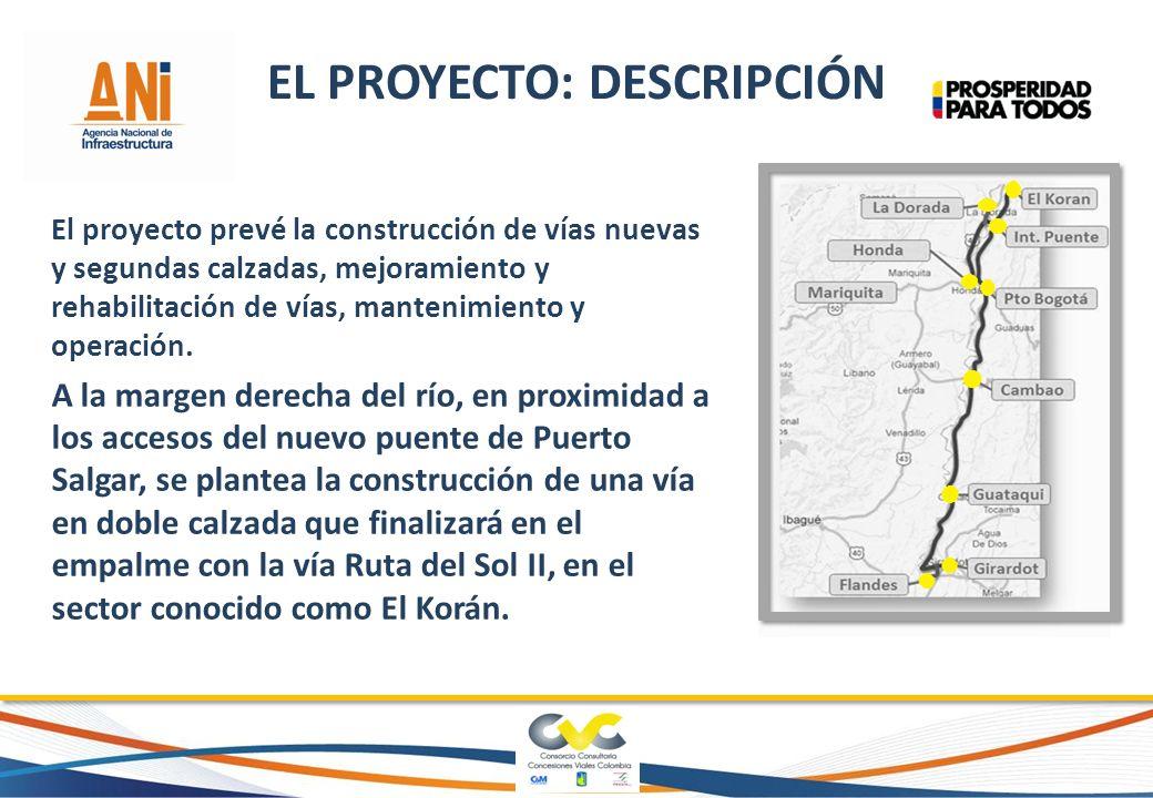 El proyecto prevé la construcción de vías nuevas y segundas calzadas, mejoramiento y rehabilitación de vías, mantenimiento y operación. A la margen de