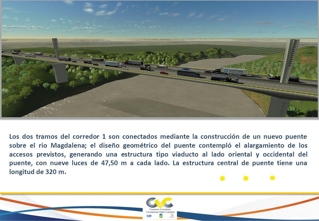 Los dos tramos del corredor 1 son conectados mediante la construcción de un nuevo puente sobre el rio Magdalena; el diseño geométrico del puente conte