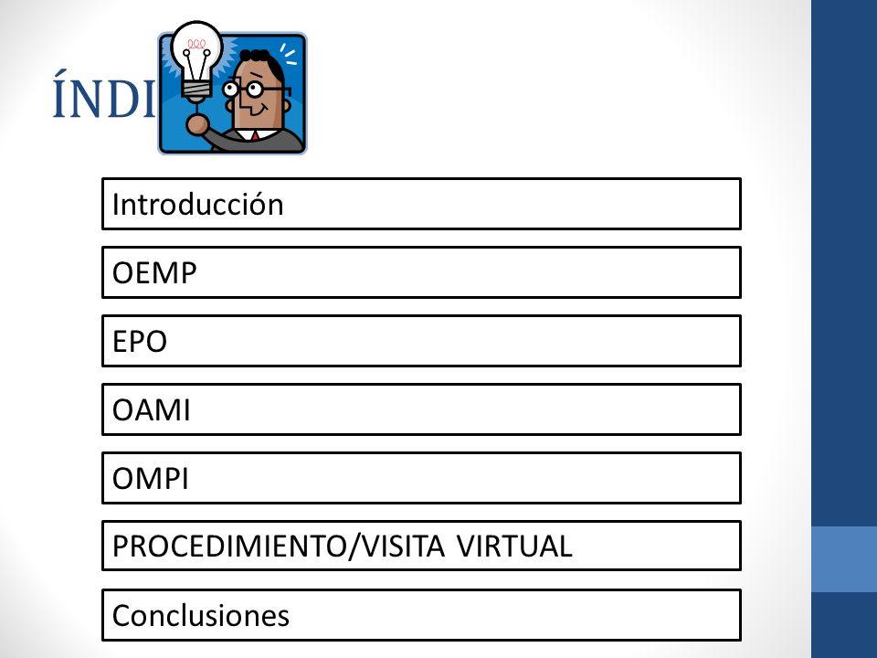 ÍNDICE Introducción OEMP EPO OAMI OMPI Conclusiones PROCEDIMIENTO/VISITA VIRTUAL