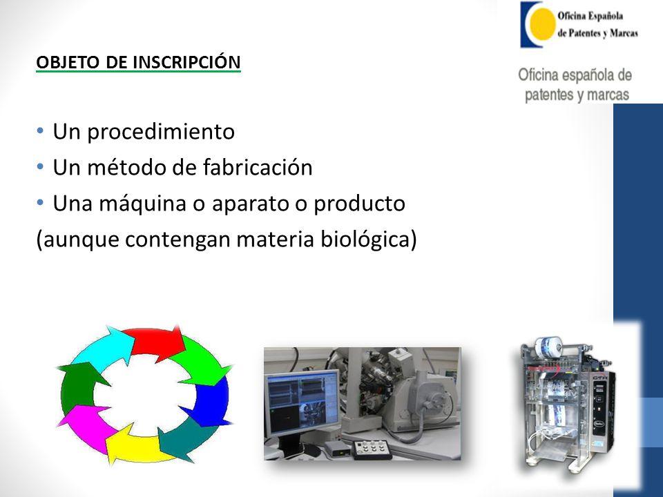 OBJETO DE INSCRIPCIÓN Un procedimiento Un método de fabricación Una máquina o aparato o producto (aunque contengan materia biológica)