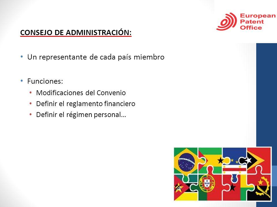 CONSEJO DE ADMINISTRACIÓN: Un representante de cada país miembro Funciones: Modificaciones del Convenio Definir el reglamento financiero Definir el ré