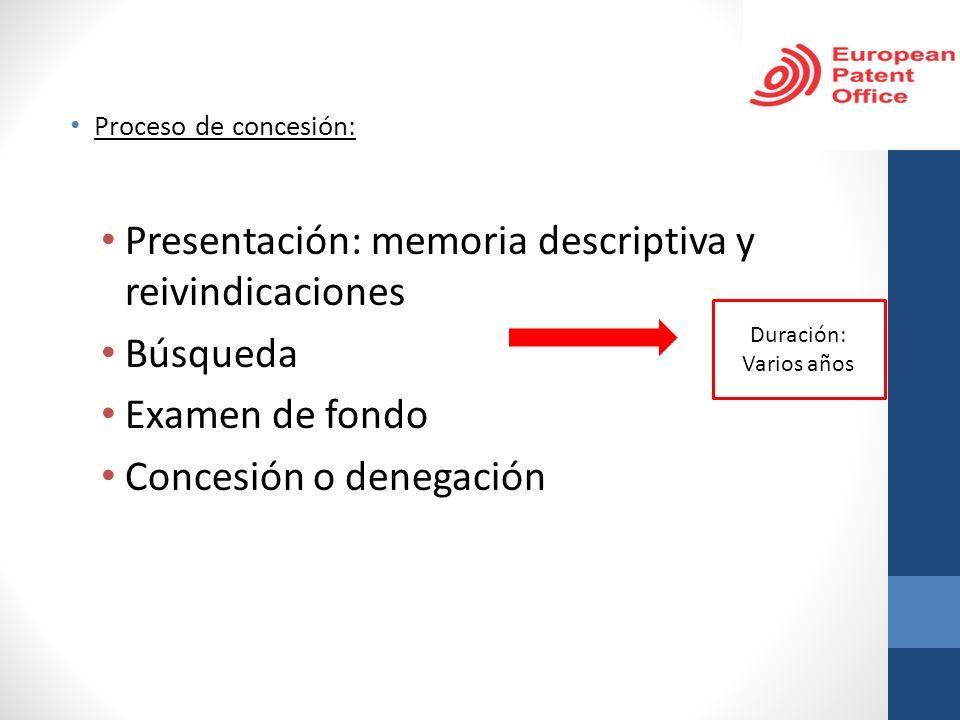 Proceso de concesión: Presentación: memoria descriptiva y reivindicaciones Búsqueda Examen de fondo Concesión o denegación Duración: Varios años