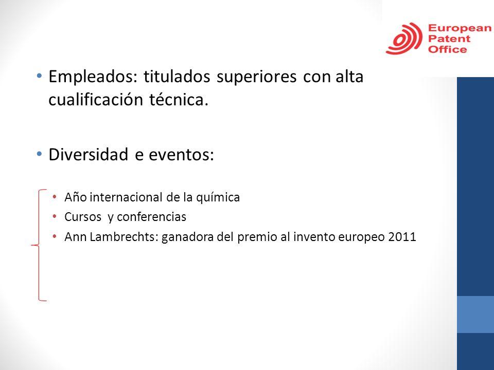 Empleados: titulados superiores con alta cualificación técnica. Diversidad e eventos: Año internacional de la química Cursos y conferencias Ann Lambre
