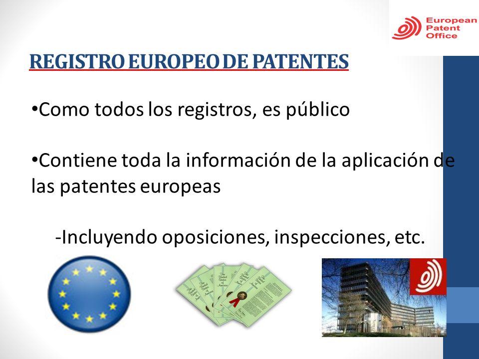 REGISTRO EUROPEO DE PATENTES Como todos los registros, es público Contiene toda la información de la aplicación de las patentes europeas -Incluyendo o