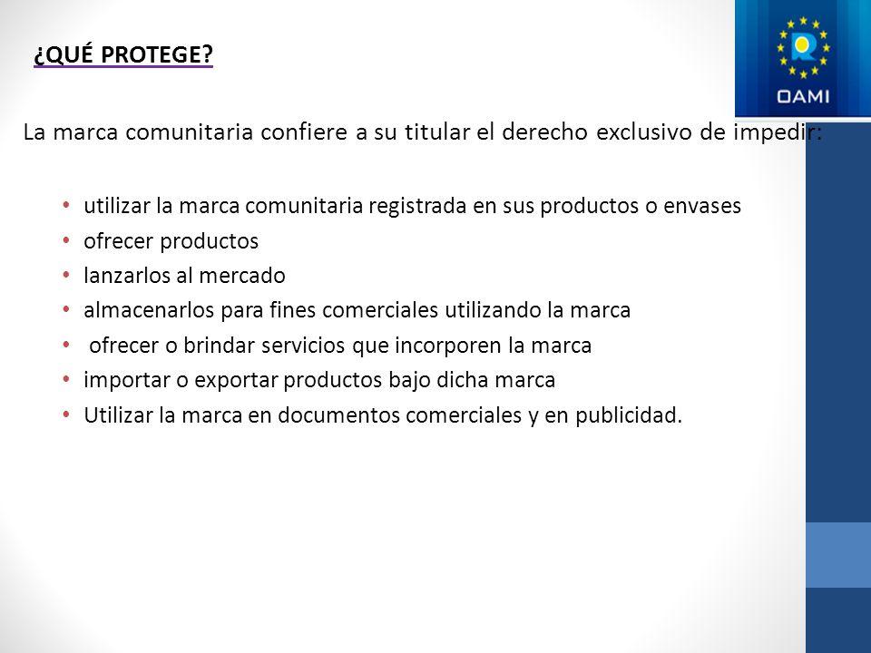 ¿QUÉ PROTEGE? La marca comunitaria confiere a su titular el derecho exclusivo de impedir: utilizar la marca comunitaria registrada en sus productos o