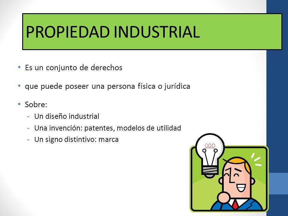 PROPIEDAD INDUSTRIAL Es un conjunto de derechos que puede poseer una persona física o jurídica Sobre: -Un diseño industrial -Una invención: patentes,