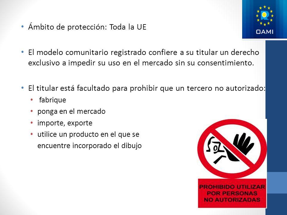 Ámbito de protección: Toda la UE El modelo comunitario registrado confiere a su titular un derecho exclusivo a impedir su uso en el mercado sin su con