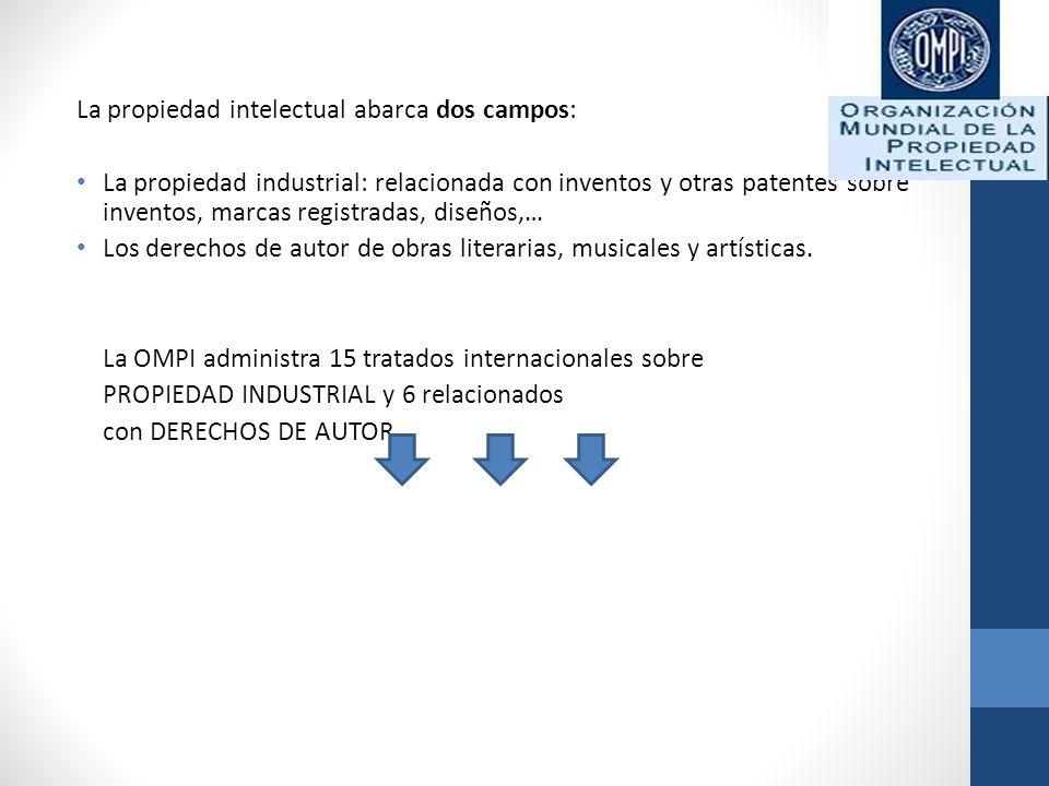 La propiedad intelectual abarca dos campos: La propiedad industrial: relacionada con inventos y otras patentes sobre inventos, marcas registradas, dis
