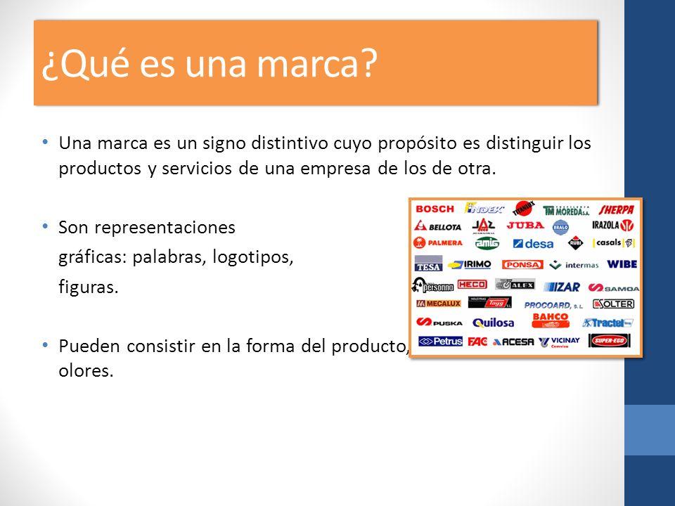¿Qué es una marca? Una marca es un signo distintivo cuyo propósito es distinguir los productos y servicios de una empresa de los de otra. Son represen