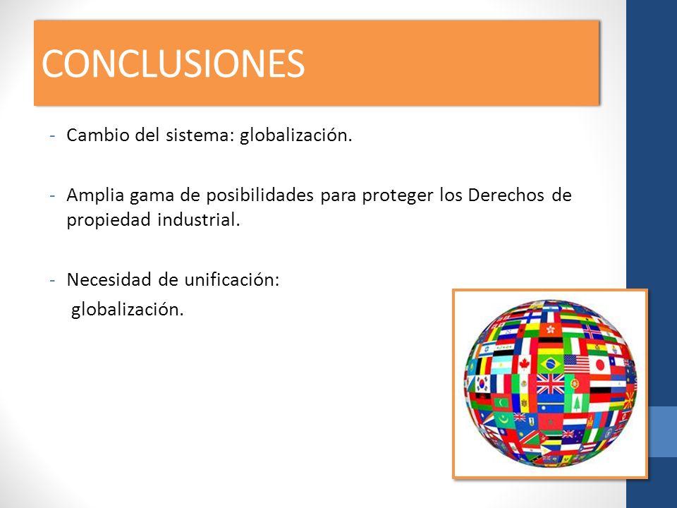 CONCLUSIONES -Cambio del sistema: globalización. -Amplia gama de posibilidades para proteger los Derechos de propiedad industrial. -Necesidad de unifi