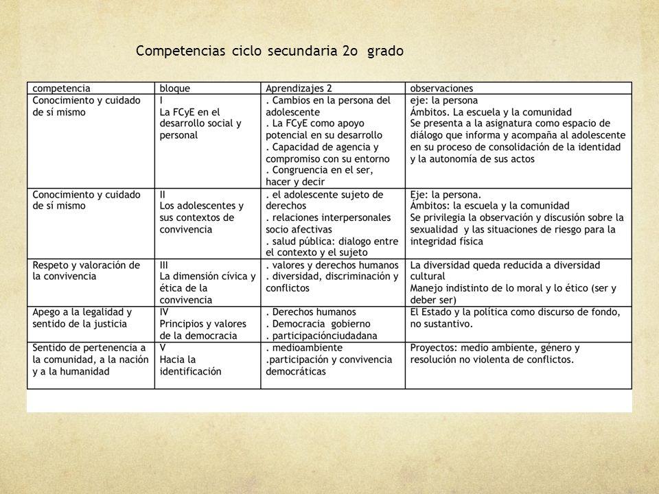 Competencias ciclo secundaria 2o grado