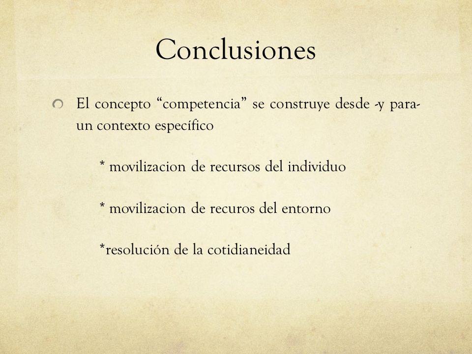 Conclusiones El concepto competencia se construye desde -y para- un contexto específico * movilizacion de recursos del individuo * movilizacion de recuros del entorno *resolución de la cotidianeidad