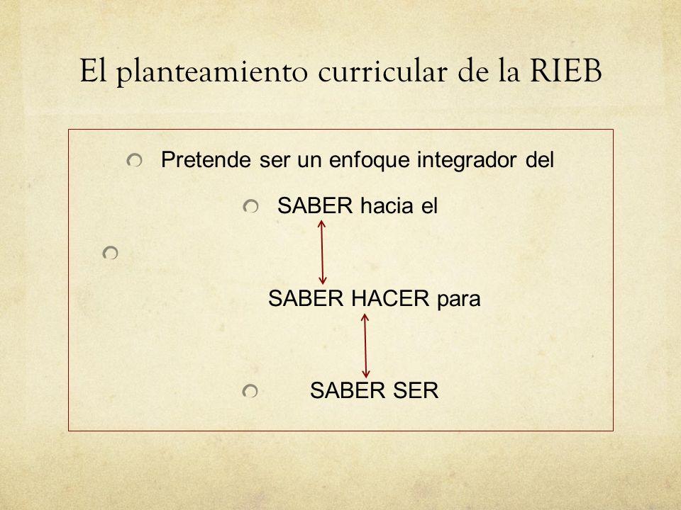 El planteamiento curricular de la RIEB Pretende ser un enfoque integrador del SABER hacia el SABER HACER para SABER SER