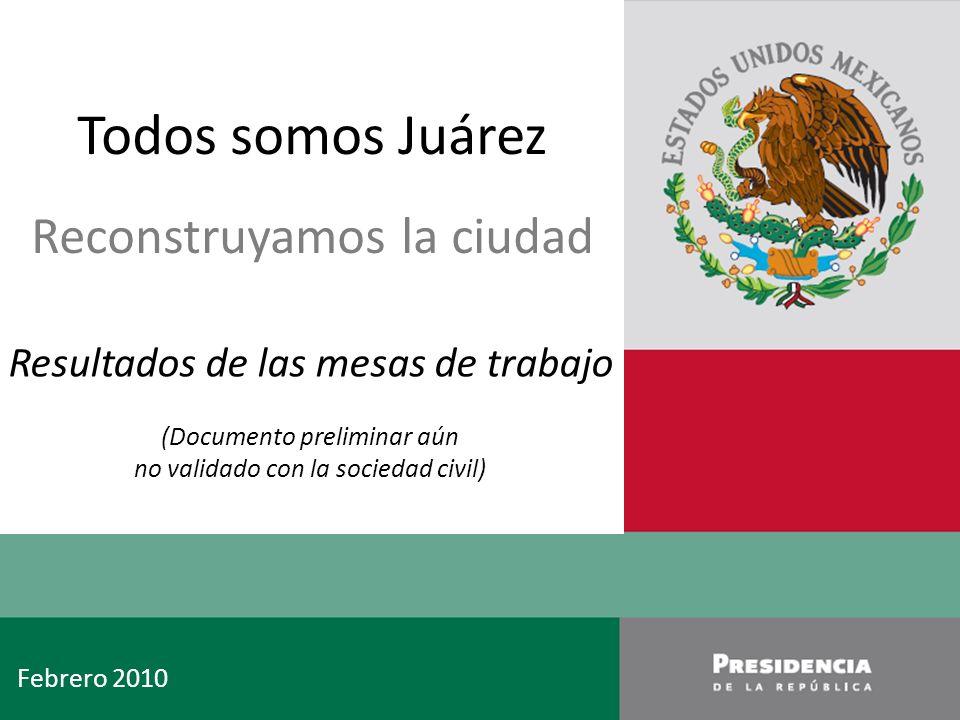 1 1 Palacio Nacional 1 Septiembre 2007 Febrero 2010 Todos somos Juárez Reconstruyamos la ciudad Resultados de las mesas de trabajo (Documento preliminar aún no validado con la sociedad civil)