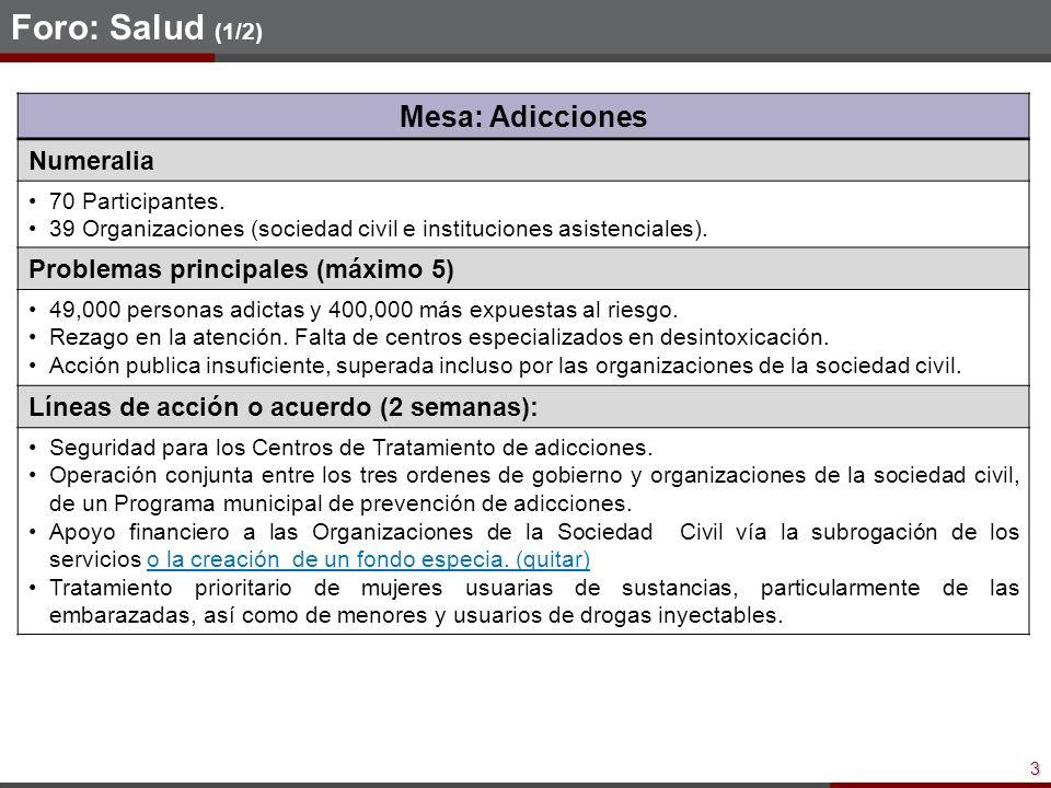 3 Foro: Salud (1/2) Mesa: Adicciones Numeralia 70 Participantes.