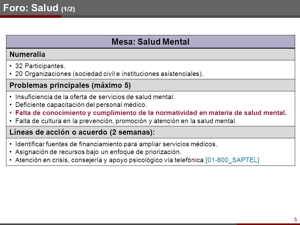 5 Foro: Salud (1/2) Mesa: Salud Mental Numeralia 32 Participantes.