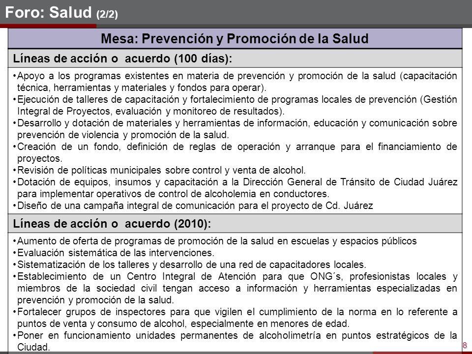 8 Foro: Salud (2/2) Mesa: Prevención y Promoción de la Salud Líneas de acción o acuerdo (100 días): Apoyo a los programas existentes en materia de prevención y promoción de la salud (capacitación técnica, herramientas y materiales y fondos para operar).