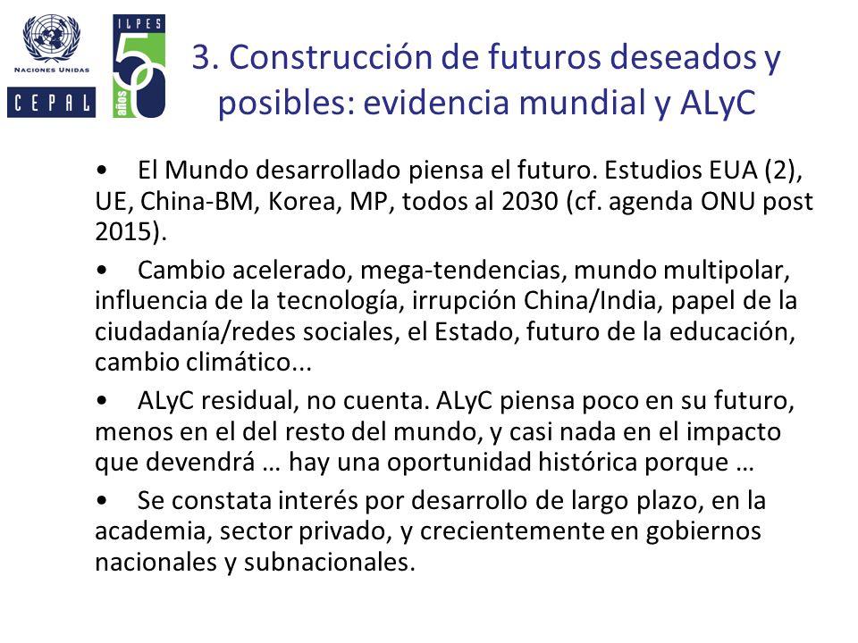 3. Construcción de futuros deseados y posibles: evidencia mundial y ALyC El Mundo desarrollado piensa el futuro. Estudios EUA (2), UE, China-BM, Korea