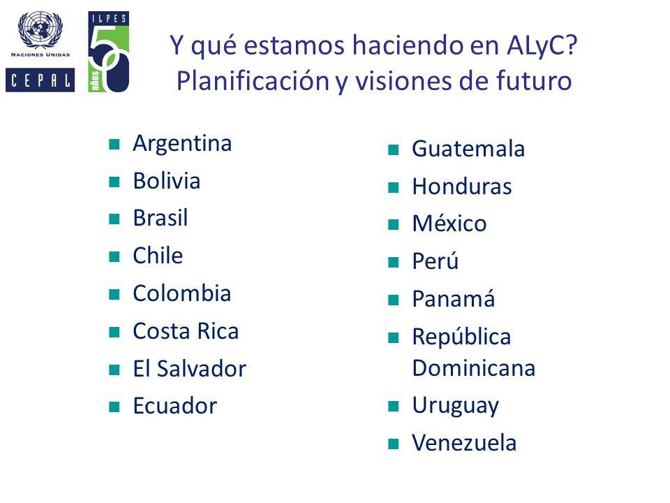 Y qué estamos haciendo en ALyC? Planificación y visiones de futuro Argentina Bolivia Brasil Chile Colombia Costa Rica El Salvador Ecuador Guatemala Ho
